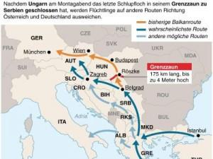 Alternative Flüchtlingsrouten nach der Grenzschließung Foto: dpa-infografik GmbH