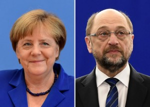 (COMBO) This combination of file pictures created on February 24, 2017 shows German Chancellor Angela Merkel (L, July 28, 2016 in Berlin) and the German social democratic SPD party's candidate for chancellorship Martin Schulz (January 16, 2017 in Strasbourg). US President Donald Trump's demand for NATO allies to boost defence spending is driving an election-year dispute between Chancellor Angela Merkel's conservatives and their centre-left challengers led by Martin Schulz. / AFP / Tobias SCHWARZ AND Frederick FLORIN        (Photo credit should read TOBIAS SCHWARZ,FREDERICK FLORIN/AFP/Getty Images)